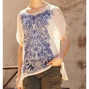 Baraschi Floral Embroidered Chiffon Top - Small